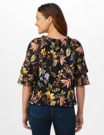 Novelty Sleeve Floral Peasant Knit Top - Black/Gold/Green - Back