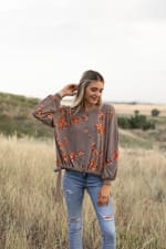 Hacci Embroidered Side Tie Top - Gingerbread - Front