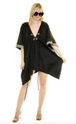 Nautical trim swim coverup - Black/Gold - Front