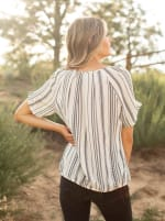 Black Crepe Stripe Bubble Hem Blouse - Off White/Black - Back