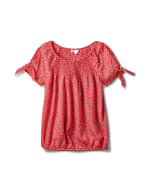Small Pattern Smocked Grommet Top - Misses - Red - Front