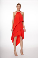 Chain Neck Tiered Hi/Lo Dress - Misses - Poppy Red - Front