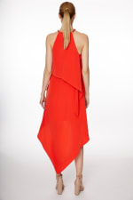 Chain Neck Tiered Hi/Lo Dress - Misses - Poppy Red - Back