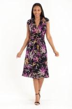 Wrap Anna Dress - lack/Purple - Front