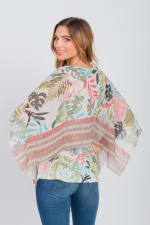 Palm Party Poncho Top - Green - Back