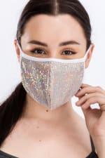 Glitter Printed Fashion Face Mask - Nude - Back