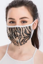 Wild for Style Sequin Printed Fashion Face Mask - Tiger Sequin - Front