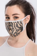 Wild for Style Sequin Printed Fashion Face Mask - Tiger Sequin - Back
