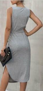 Sleevless V-Neck Dress - Light gray - Back