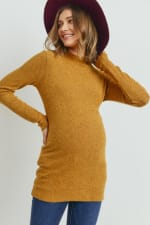 Little Momma's Ribbed Bodycon Top - Mustard - Front
