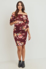 Little Momma's Off-Shoulder Rum Dress with Floral Embellishments - Burgundy - Front
