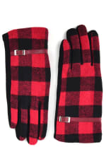 Buffalo Plaid Faux Leather Touch Screen Gloves - Black - Front