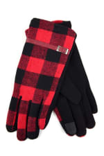 Buffalo Plaid Faux Leather Touch Screen Gloves - Black - Back