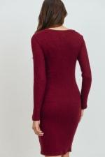 Little Momma's Round Neck Ribbed Dress - Burgundy - Back