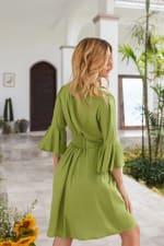 Melrose Dress - Greek olive - Back