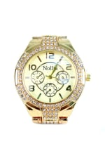 Gold-Tone Watch with Stones -  - Front