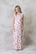 Rayon Maxi Dress - Ivory / Pink - Front