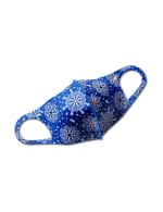 Jeweled Medallion Anti-Bacterial Fashion Face Mask - Royal Blue - Front