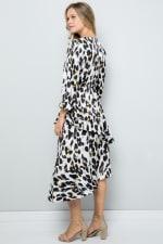 Asymmetric Leopard Print Dress with Ruffle Detailing - Cream - Back