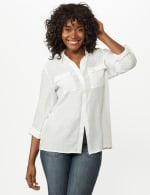 Textured Button Front Tunic Shirt - 18