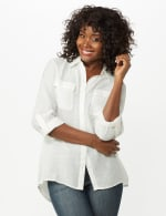 Textured Button Front Tunic Shirt - 20