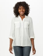 Textured Button Front Tunic Shirt - 19