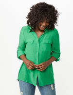 Textured Button Front Tunic Shirt - 8