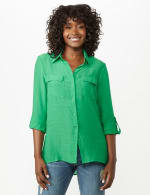 Textured Button Front Tunic Shirt - 9