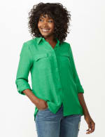 Textured Button Front Tunic Shirt - 10