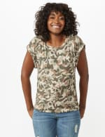 Camouflage Cuff Cap Sleeve Knit Tee - 3
