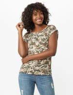 Camouflage Cuff Cap Sleeve Knit Tee - 5