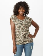 Camouflage Cuff Cap Sleeve Knit Tee - 6