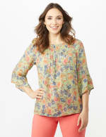 Flare Sleeve Floral Smocked Texture Top - 3