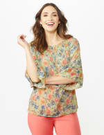 Flare Sleeve Floral Smocked Texture Top - 4