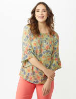 Flare Sleeve Floral Smocked Texture Top - 5