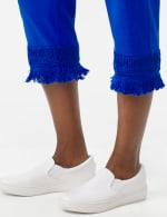 Pull on Crop Pants with Novelty Fringe Hem - Princess Blue - Detail