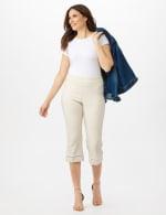 Pull On Crop Lace Hem Pants - 7