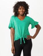 Flutter Sleeve Tie Bottom Knit Top - 9