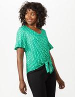 Flutter Sleeve Tie Bottom Knit Top - 10