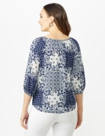 Patchwork Peasant  Tie Front Top - Blue - Back