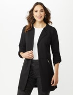 Open Front Cardigan Jacket with Zip Pkts and Roll Sleeve - 4
