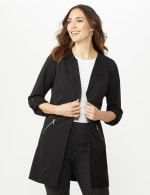 Open Front Cardigan Jacket with Zip Pkts and Roll Sleeve - 6