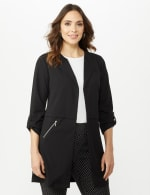 Open Front Cardigan Jacket with Zip Pkts and Roll Sleeve - 5