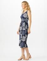 Sleeveless Side Tie Faux Wrap Medallion Print Dress - 3