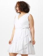 Sleeveless Eyelet Knit Side Tie Ruffle Hem Dress - Plus - 4