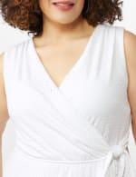 Sleeveless Eyelet Knit Side Tie Ruffle Hem Dress - Plus - 5