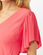 Chiffon Short Pleated Sleeve Dress with Soft Self Fabric Belt - 5