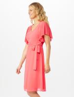 Chiffon Short Pleated Sleeve Dress with Soft Self Fabric Belt - 4