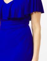 Cascade Ruffle Neck Shirred Waist Dress - 2