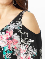 Cold Shoulder Elbow Sleeve Etched Floral Dress - Petite - 5